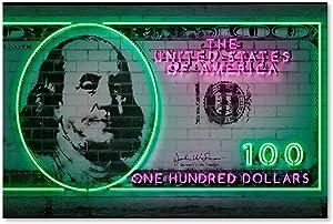 100 dollars by Octavian Mielu, 12x19-Inch Canvas Wall Art