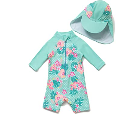 Sun Protection Baby//Toddler Girl One Piece Swimsuit with UPF 50