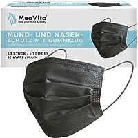 MeaVita Medische wegwerp mond- en neusbescherming, zwart, in verpakking van 50 stuks, type IIR, 3-laags, CE…