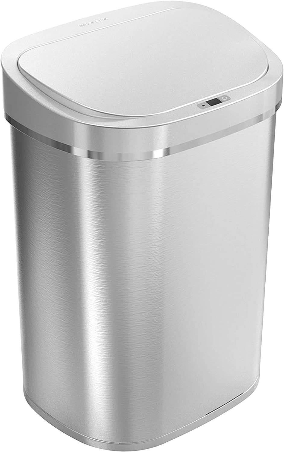 Ninestars DZT-80-35 Automatic Touchless Infrared Motion Sensor Trash Can, 21 Gal 80L, Heavy Duty Stainless Steel Base (Oval, Brush Trashcan, Silver Lid