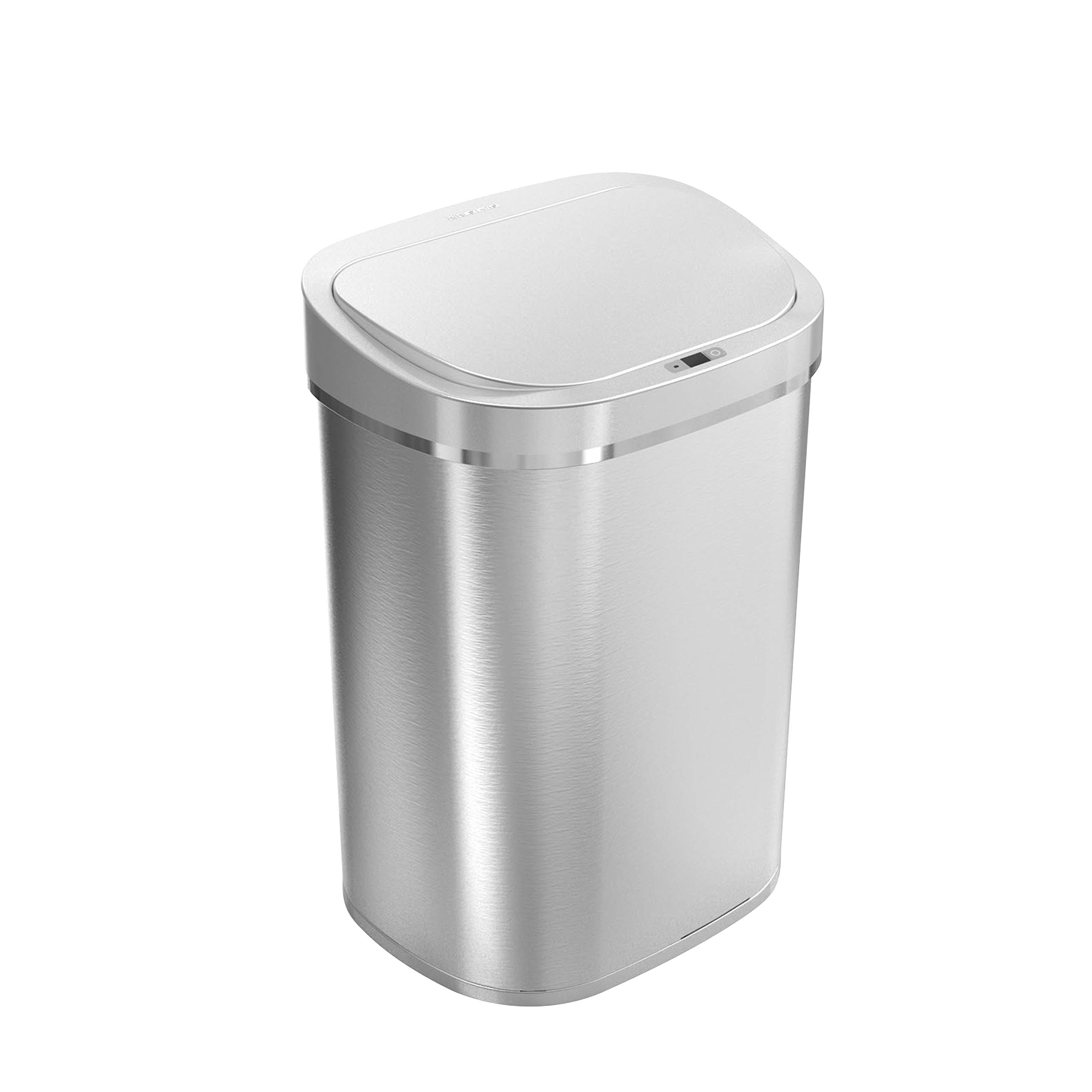 Ninestars DZT-80-35 Automatic Touchless Infrared Motion Sensor Trash Can, 21 Gal 80L, Heavy Duty Stainless Steel Base (Oval, Silver/Brush Lid) Trashcan SS