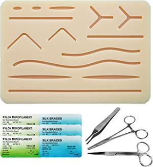 Suture Kit for Medical & Vet Students, Portable 3 Layers Suture Pad with Pre-Cut Incisions, Includes Suture Tools, Threads and Needles, Ideal Practice Suture Training Kit (Training Use Only)