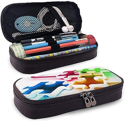 Estuche de lápices de cuero de PU con cremallera, estuche para rotuladores de gran capacidad, estuche de marcador, estuche de maquillaje cosmético: Amazon.es: Oficina y papelería