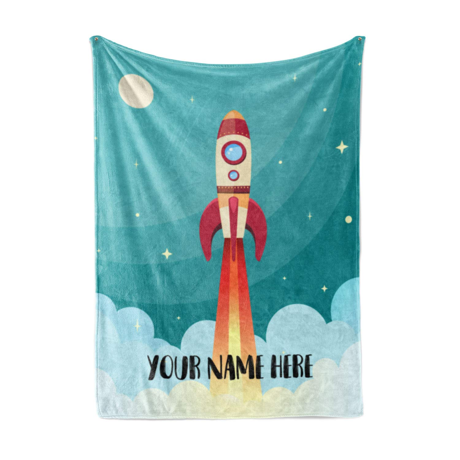 Personalized Kids Rocket Launch Space Theme Fleece Blanket - Boys Girls Toddler Baby Throw Blanket Perfect for Travel, Portable, Nursery (50'' x 60'' - Child) by Personalized Corner
