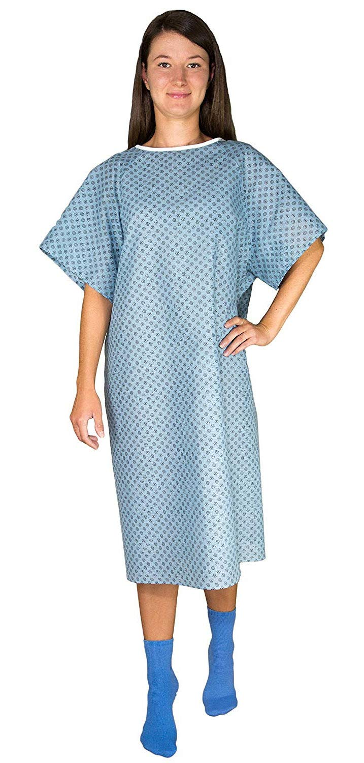 12 Pack - Blue Hospital Gown with Back Tie/Hospital Patient Robes with Ties - One Size Fits All Wholesale