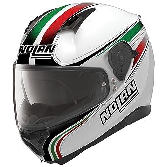 Nolan N87 Italy Integral casco moto policarbonato N- Com – Metal Blanco Tamaño S