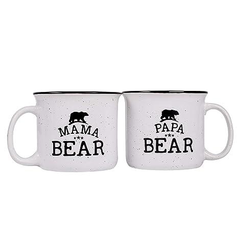 bd42e13aa8 Image Unavailable. Image not available for. Color: Papa Bear & Mama Bear  Campfire Ceramic Mugs, Gift ...