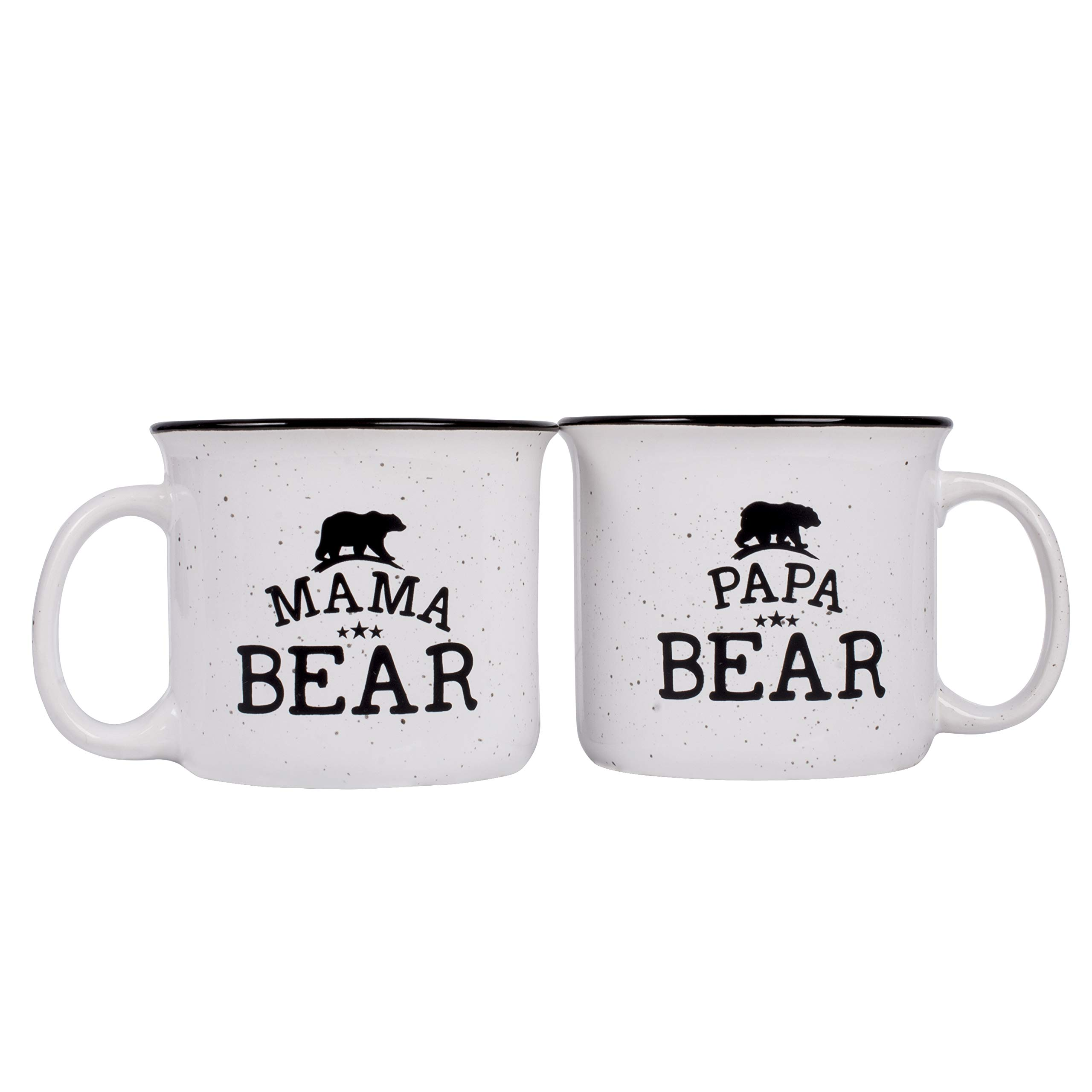 Papa Bear & Mama Bear Campfire Ceramic Mugs, Gift for Couples - White - 15 oz, Retro Coffee Mug for Dad & Mom Gifts Tea Cup, Perfect Christmas Gift