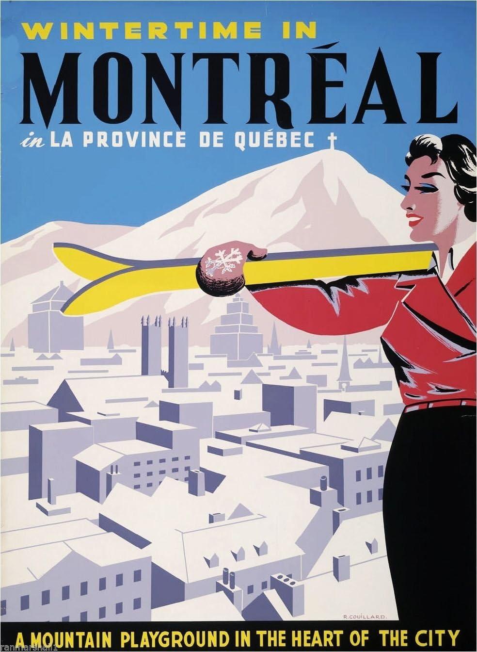 Montreal Canada Quebec Winter Ski Canadian Travel Advertisement Art Poster