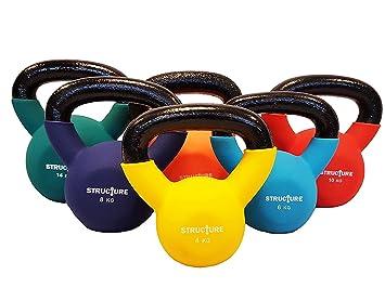 Juego de 2pesas rusas de hierro Structure Fitness® con neoprene de color.