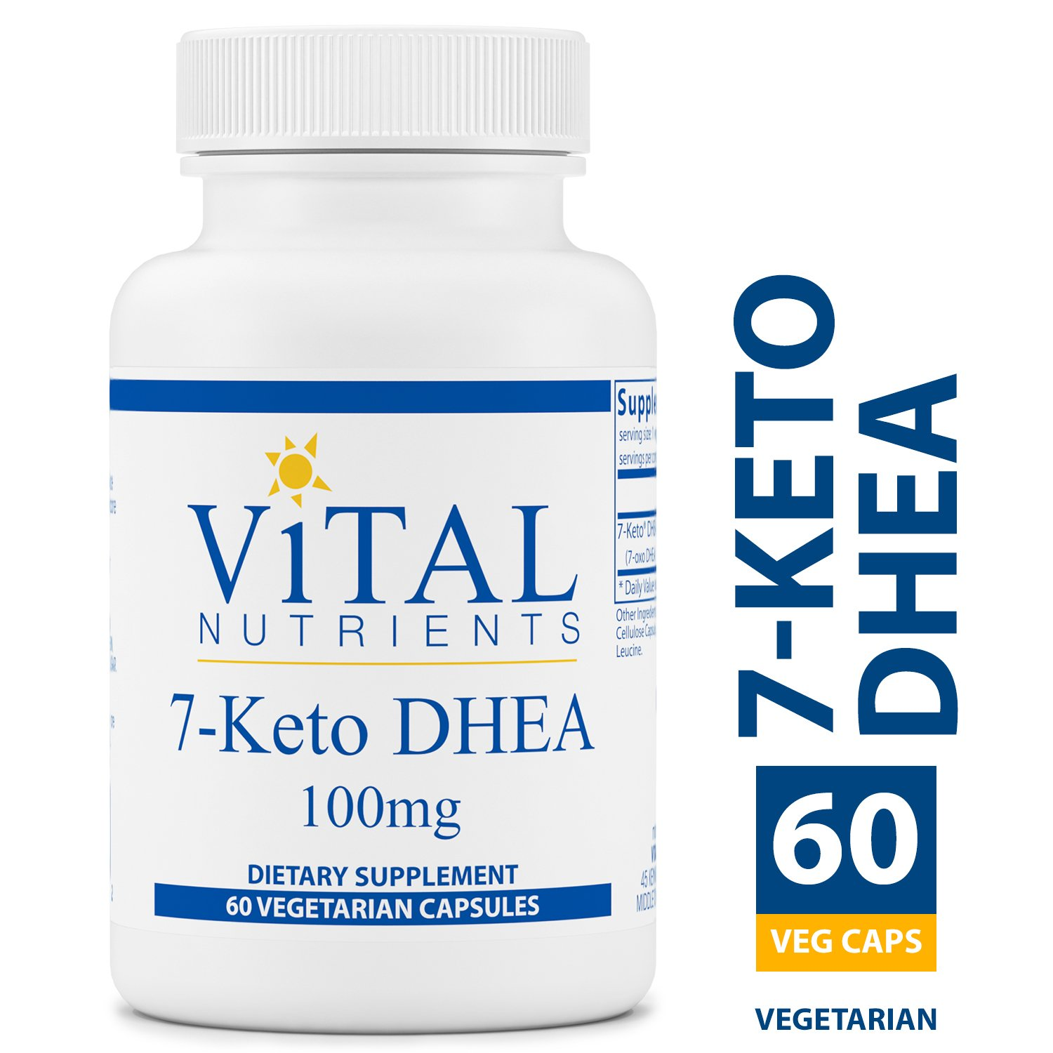 Vital Nutrients - 7-Keto DHEA 100 mg - Natural Metabolite Promoting Healthy Resting Metabolic Rate (RMR) - Supports Healthy Weight Management - 60 Capsules per Bottle