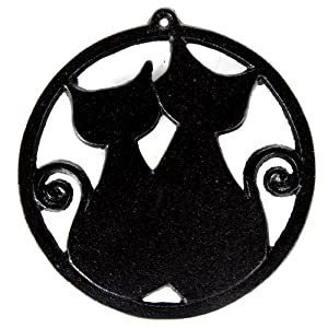 Home-X Cast Iron Trivet, Round Trivet with Two Cat Silhouettes