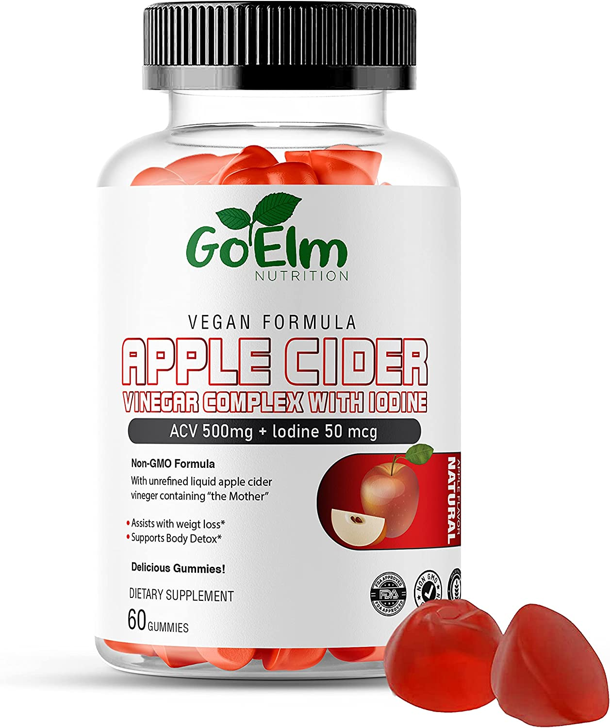 Apple Cider Vinegar Complex Gummies Vitamin by Go Elm Nutrition (60 Gummies | 500 mg) with 50 mcg Iodine | Non-GMO Vegan Formula Containing The Mother | Vitamin B6, B12, Beetroot, and Pomegranate