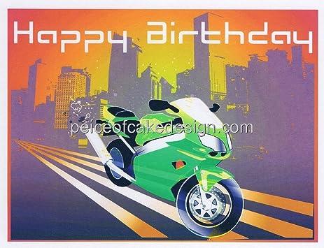 Amazoncom Happy Birthday Motorcycle Edible Cake Topper Kitchen