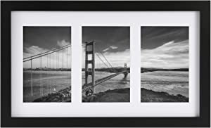 ONE WALL Tempered Glass 8x14 Inch Collage Picture Frame for 4x6 Inch Photos 3-Opening - Wall Mounting Hardware Included
