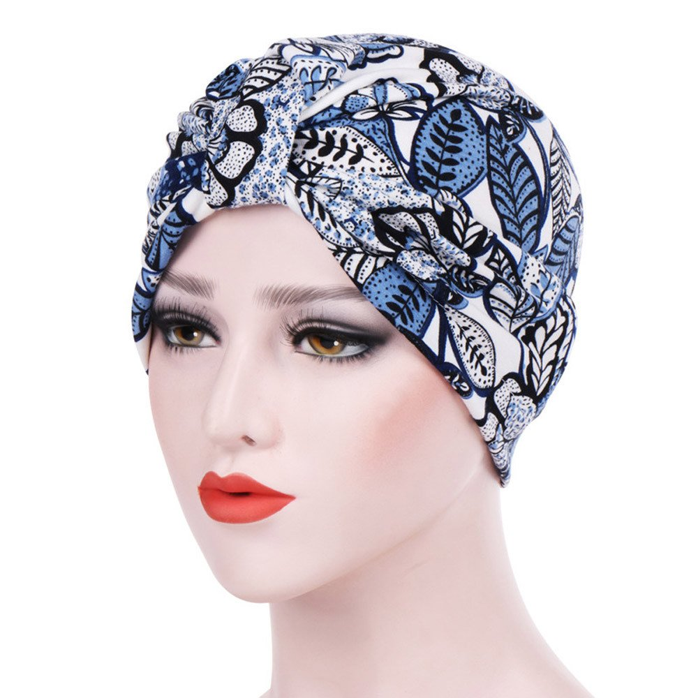 Womens India Hat Muslim Ruffle Beanie Scarf Turban Hat Chemo Sleep Cap Hair Wrap Headwraps Cancer Hat Slouchy Hats Blue by Tianjinrouyi Hats (Image #2)