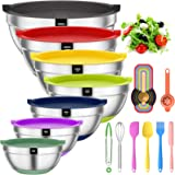 Mixing Bowls with Airtight Lids, 20 piece Stainless Steel Metal Nesting Bowls, AIKKIL Non-Slip Colorful Silicone Bottom, Size