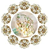 HABI 10pcs Decorative Rhinestone Pearl Flower Bead Buttons DIY Craft Embellishment for Wedding Clothes Hair Accessories Gift Decor No Hole for Sewing (Gold)