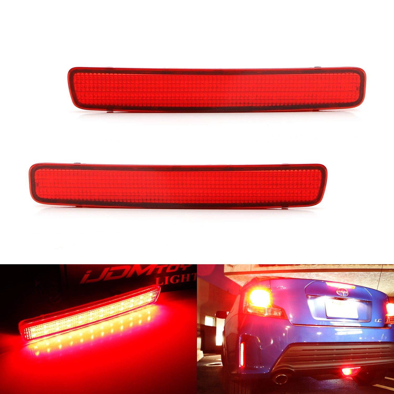 iJDMTOY Red Lens 48-SMD LED Bumper Reflector Lights For 14-16 Scion tC & 12-17 Toyota Prius V, Function as Tail, Brake & Rear Fog Lamps