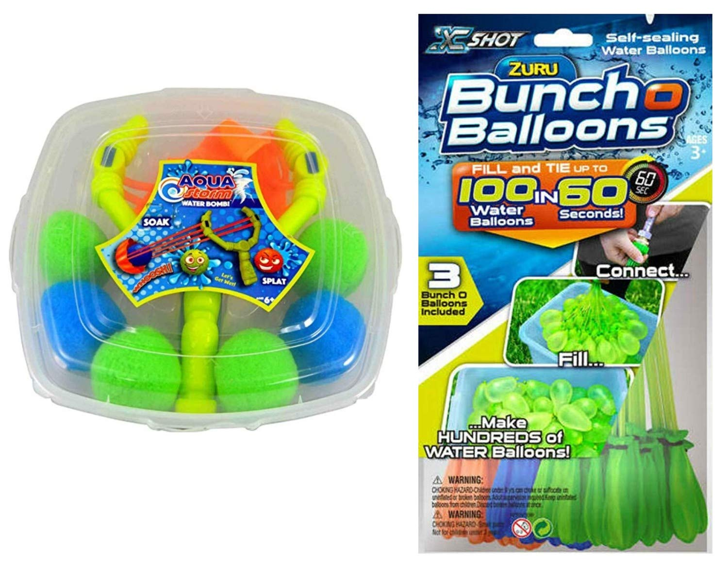 ZURU Bunch O Balloons Self Sealing Water Balloons Bundled with One Water Balloon Slingshot Launcher Set - 105 Total Quick Fill Water Balloons Assorted Colors (2 Items) by ZURU