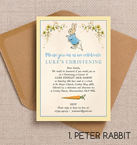 10 personalised beatrix potter peter rabbit christening baptism 10 personalised beatrix potter peter rabbit christening baptism naming day invitations with envelopes stopboris Choice Image