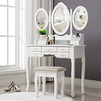 Unihome Vanity Table Makeup Table With Tri Fold Mirror White Dressing Table Bedroom Makeup Vanity With Drawers For Women Furniture Decor