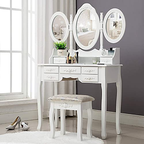 Unihome Vanity Table – Makeup Table with Tri-fold Mirror White Dressing Table Bedroom Makeup Vanity with Drawers for Women