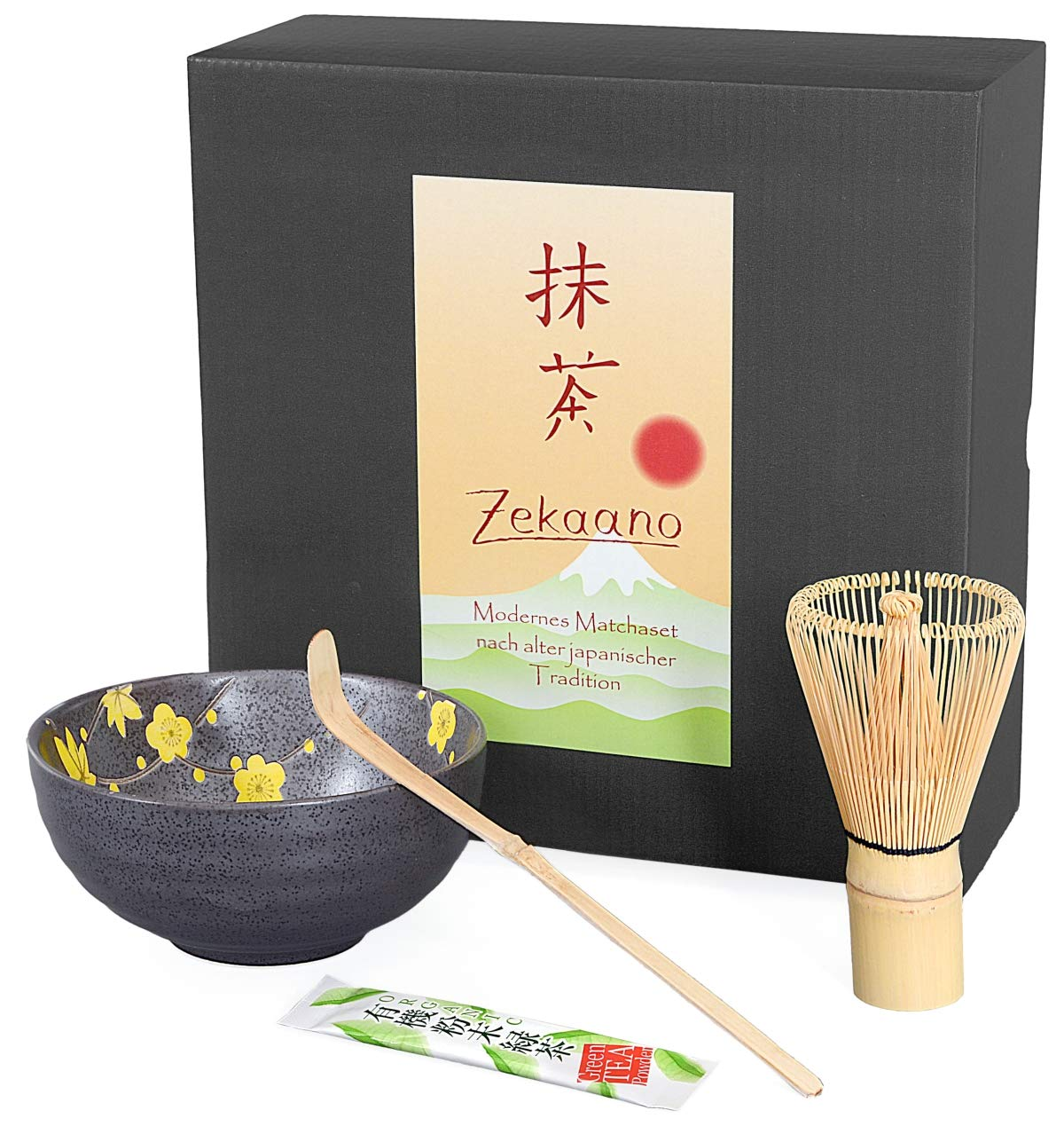 Matcha Set of 3, Grey Yellow, Includes Matcha Bowl, Matcha Spoon and Bamboo Matcha Whisk (Set in a Gift Box. Aricola®