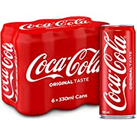 Coca -Cola  Regular Carbonated Soft Drink, Cans - 330ml (Pack of 6)
