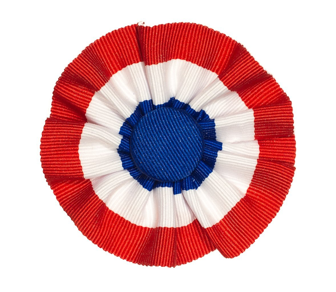 Tri-color Ribbon Cockade Red White and Blue Hat Trim with Brooch Pin Back