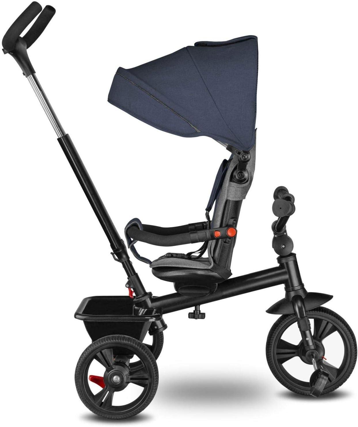 Lionelo Haari Tricycle bébé évolutif jusqu'à 25 kg vélo de Marche vélo pour Les Enfants Plus âgés siège réversible Grand Panier Sac Porte-gobelet Roue Libre (Gris) Bleu
