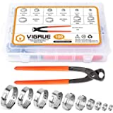 VIGRUE 100Pcs 6-28.6mm Single Ear Hose Clamps 10 Sizes with Ear Clamp Pincer 304 Stainless Steel Stepless Hose Clamps…