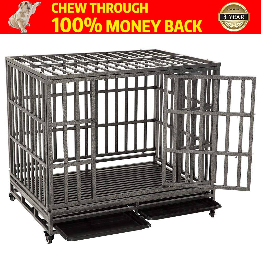 KELIXU Heavy Duty Dog Cage Strong Dog Kennels and Crates for Large Dogs Indoor/Outdoor with Locks and Lockable Wheels,42 INCH,Black by KELIXU
