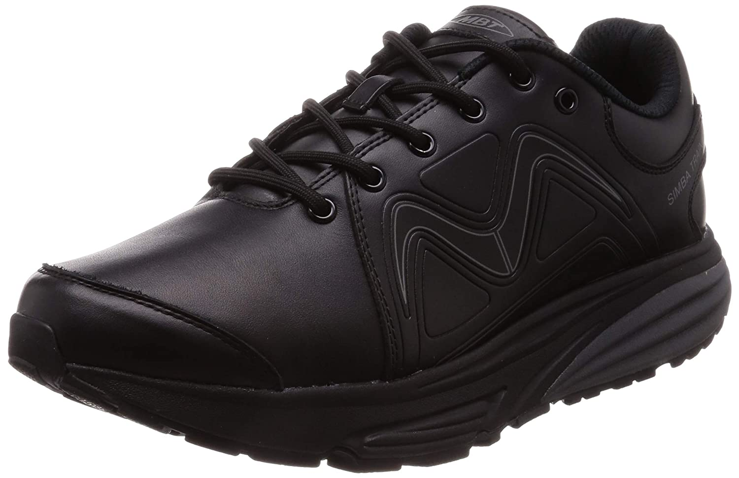 Black Black Leather Mbt Mens Simba Leather Trainers