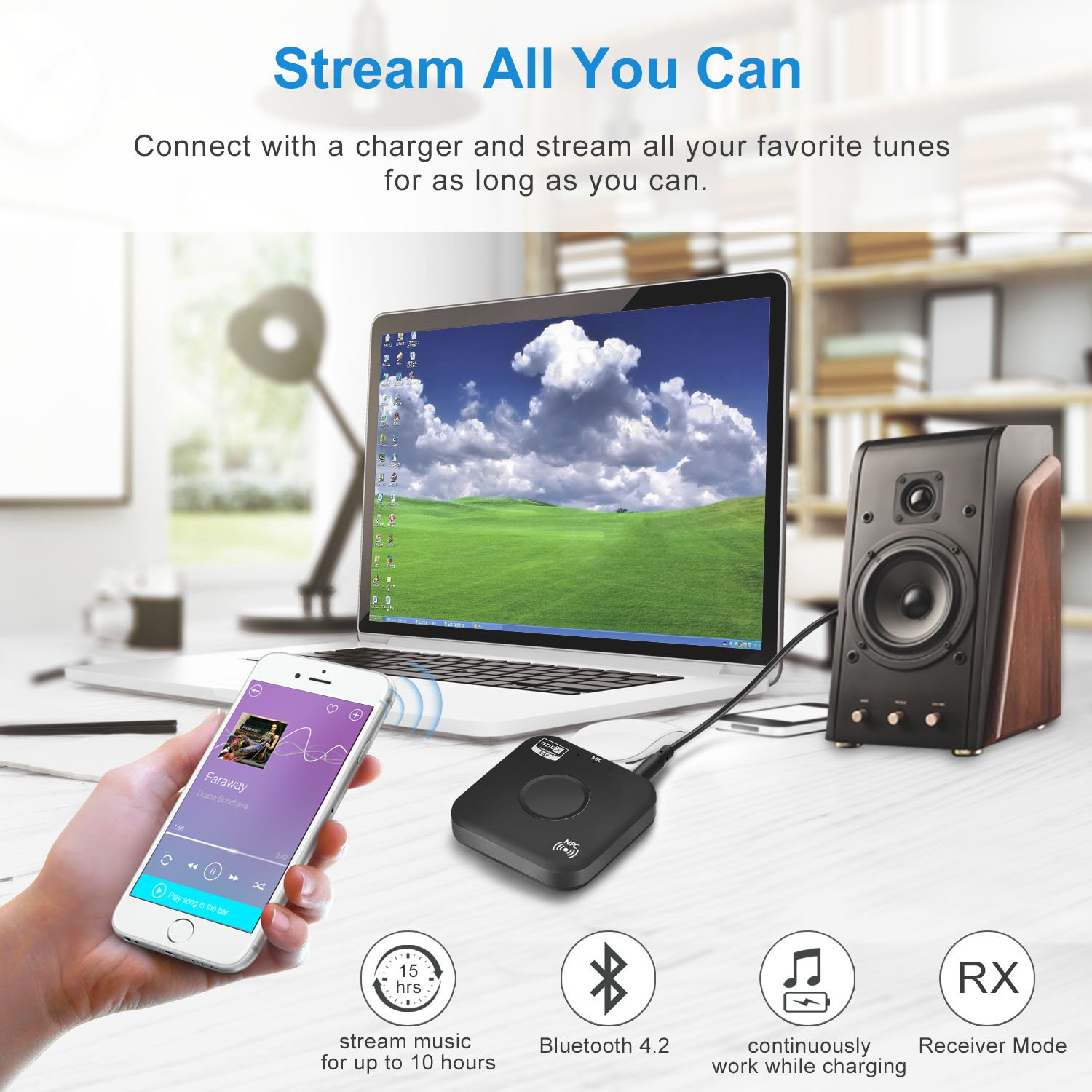 Bluetooth 4.2 Receiver Adapter/Car Kit,Csr aptX Low Latency,Kroaprao Wireless Bluetooth 3.5mm AUX and RCA HiFi Audio Receiver Devices 300mAh (10Hrs,NFC,Hands-Free Calling) for Home Stereo System by KROA PRAO (Image #3)