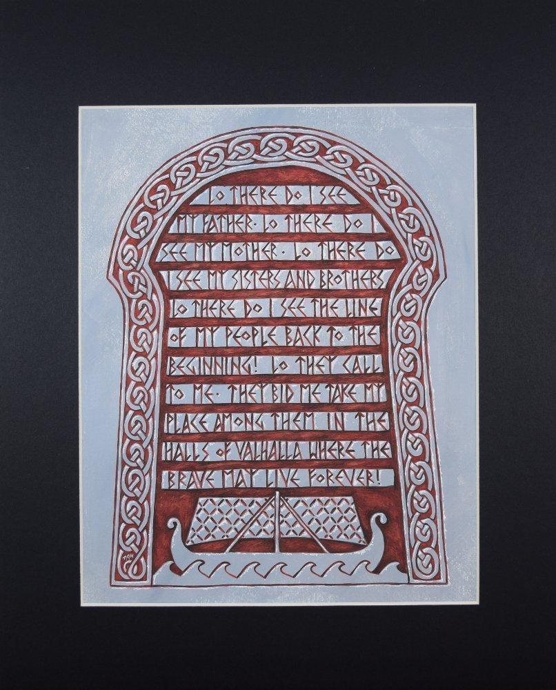 Viking Rune Stone Wall Art, Fine Art Print Reproduction of Valhalla Funeral Prayer