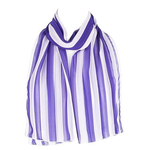 Striped Chiffon Scarf Shawl Wrap Bluewhite At Amazon Womens