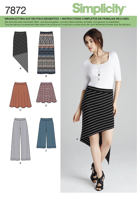 Burda Simplicity s7872.r5 patrón de Costura para Falda/pantalón ...