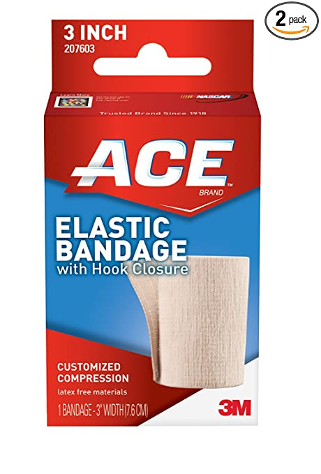 ACE Elastic Bandage with Hook Closure, 3 Inches Width (Pack of 2)