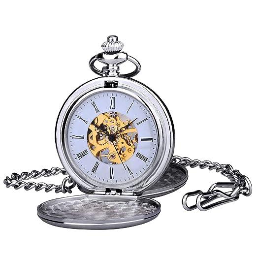 Reloj Gusset Pocket zeiger Steampunk Esqueleto Mecánico cobre estilo Gusset retro colgante reloj de bolsillo w351: Amazon.es: Relojes