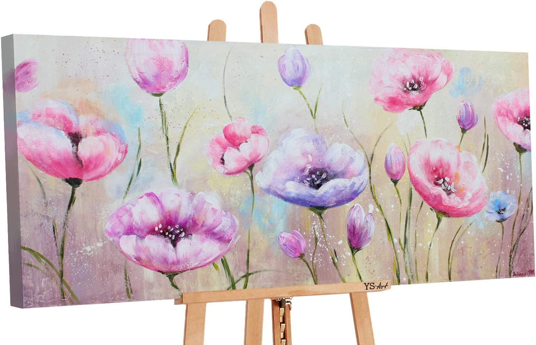 YS-Art | Cuadro Pintado a Mano Las Flores | Cuadro Moderno acrilico | 115x50 cm | Lienzo Pintado a Mano | Cuadros Dormitories | único | Rosado