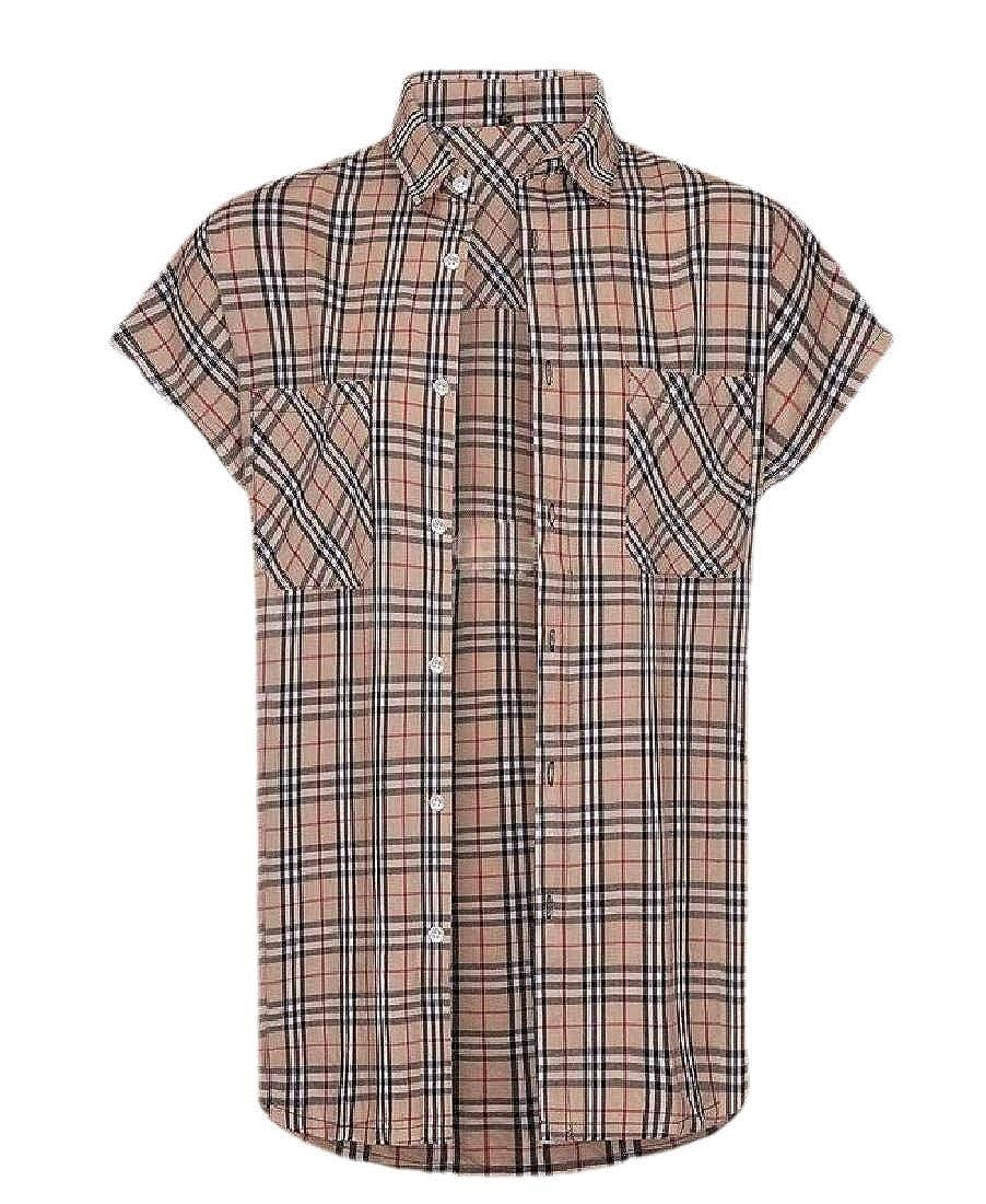 desolateness Mens Shirt Western Plaid Checked Short Sleeve Tops Button Down Casual Shirt