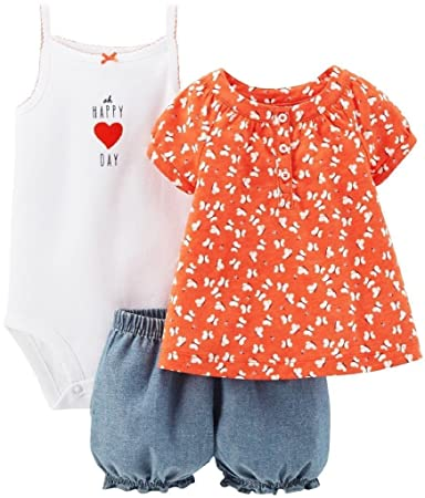 2ccaf2dd179f Amazon.com  Carter s Baby Girls  3 Piece Print Romper Set (Baby ...
