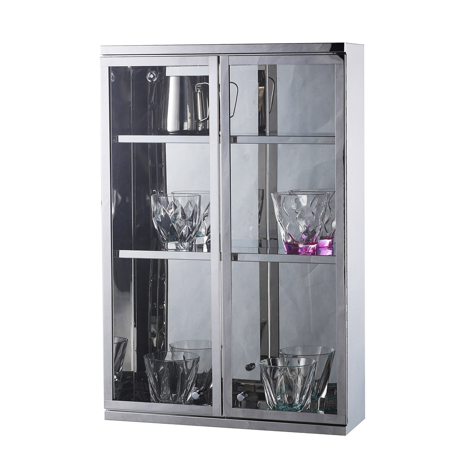 Modern Wall Mount Storage Cabinet Bathroom Stainless Steel w/ Shelves Silver With Ebook