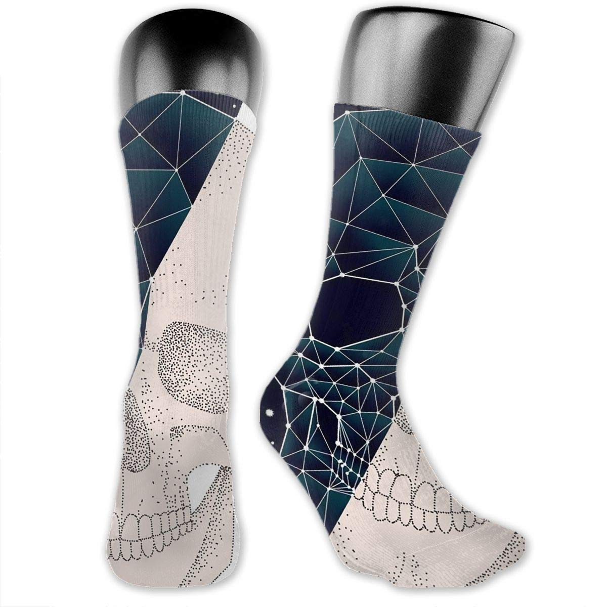 Geometry Constellation Skull Day And Night Mens Dress Socks Fun Mid-Calf Socks 15.7