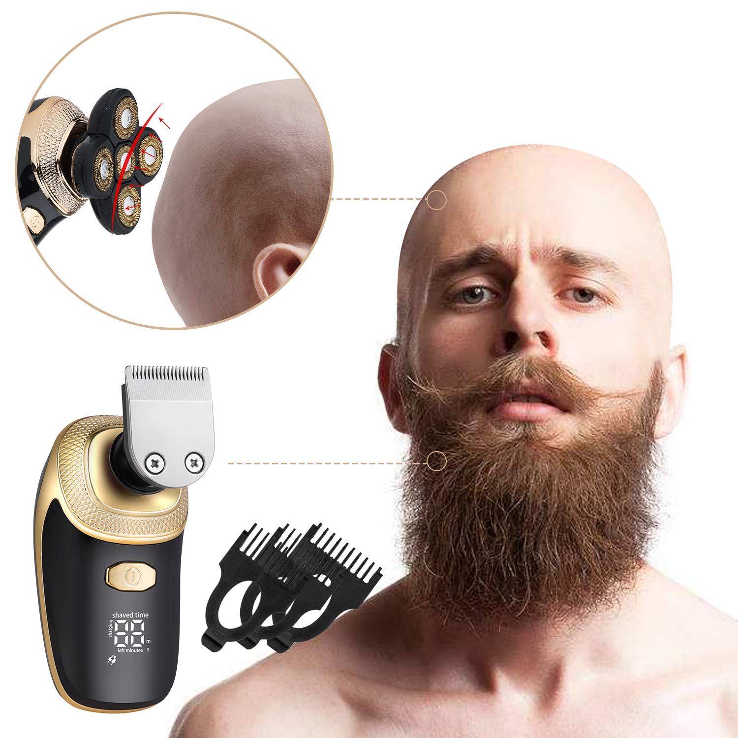 Mens Electric Shaver, Waterproof 5 In 1 Bald Men Razor Beard Trimmer Grooming Kit