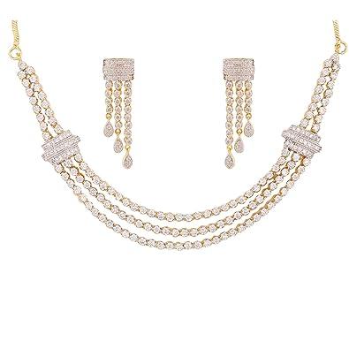 Buy Swasti Jewels Non Precious Metal Golden Diamond Jewelry Set