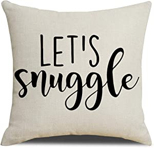 KACOPOL Motivational Sign Inspirational Quote Throw Pillow Cover Cotton Linen Home Decor Colorful Letters Pillowcase Cushion Cover with Word for Sofa Couch 18x18 Inches (Let's Snuggle)