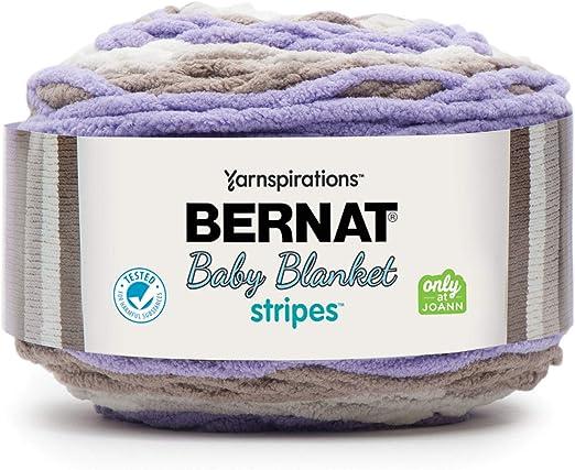 2 Pack Bernat Baby Blanket Stripes Yarn-Violets