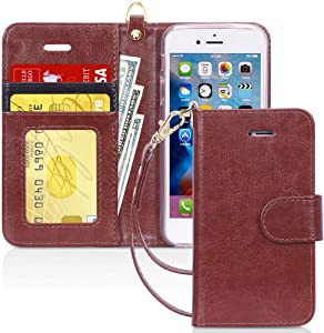 FYY Case for iPhone SE (1st gen-2016)/iPhone 5S/iPhone 5, [Kickstand Feature] Luxury PU Leather Wallet Case Flip Folio Cover with [Card Slots][Wrist Strap] for iPhone SE (1st gen-2016)/5S/5-Dark Brown